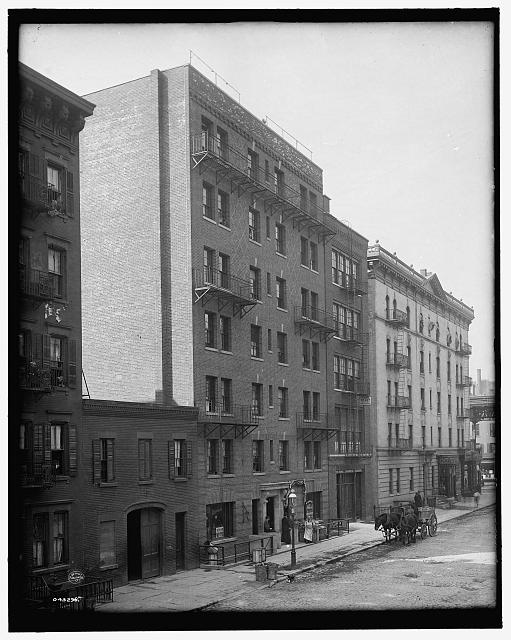 [Exterior of tenement, New York City]