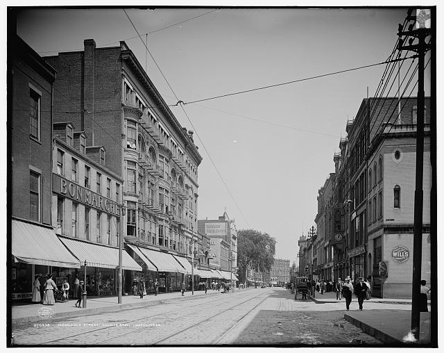 Merrimack Street looking east, Lowell, Mass.