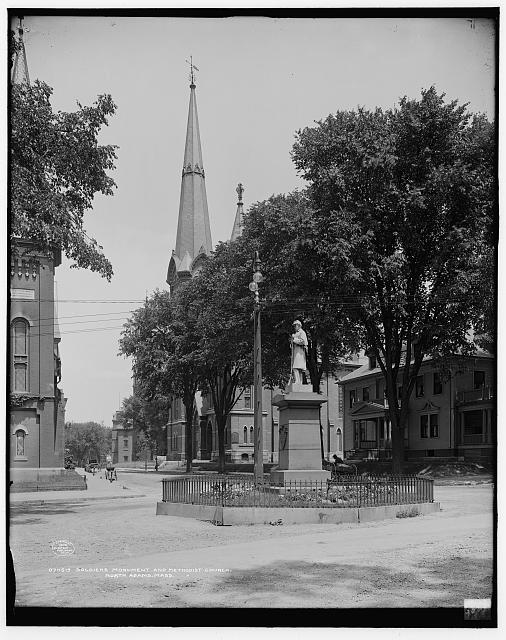 Soldiers' Monument and Methodist church, North Adams, Mass.