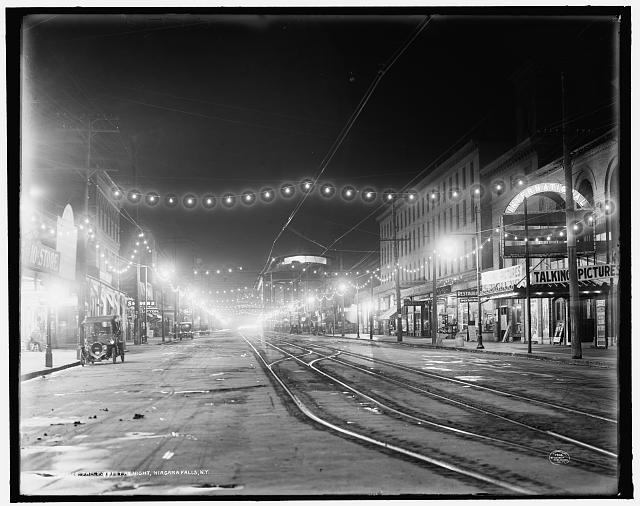Falls Street at night, Niagara Falls, N.Y.