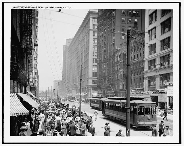 The Busy crowd on State Street, Chicago, Ill