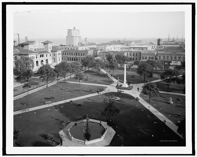 Plaza and harbor, Pensacola, Fla.