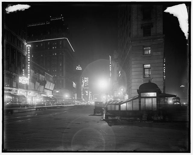 [Broadway at night from Times Square, New York, N.Y.]