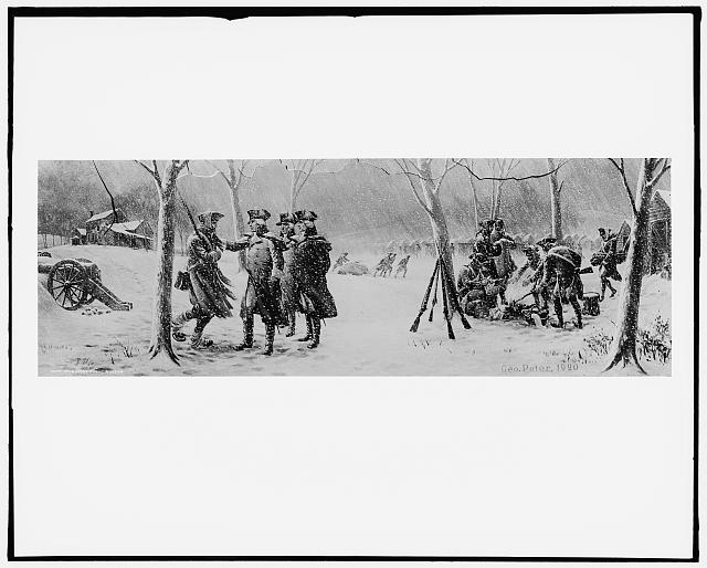 [Soldiers standing in snow-covered military camp, possibly in Valley Forge, Pa., during American Revolution]