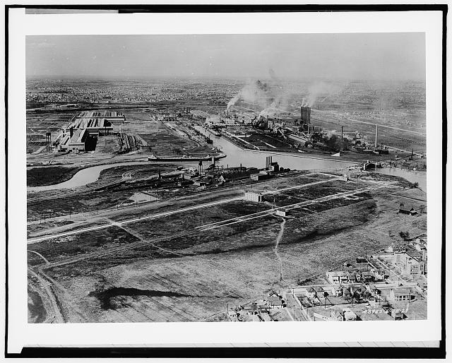 [Ford Motor Company River Rouge plant, Dearborn, air view]
