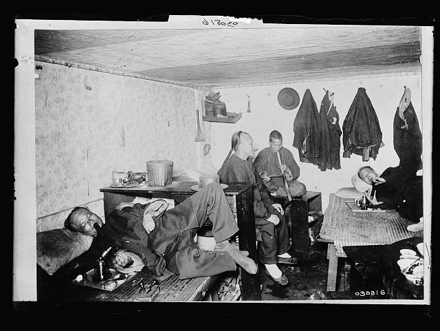 [Chinese Americans in an opium den]