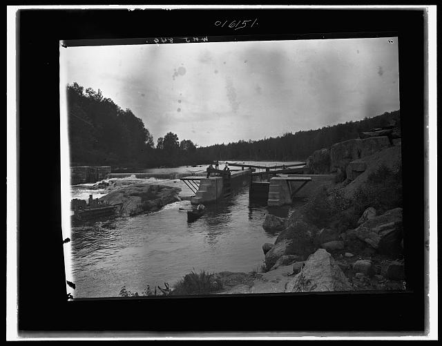 [Saranac River dam and lock, Adirondack Mtns., N.Y.]