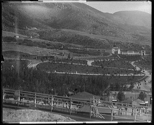[Columbia Gardens amusement park, Butte, Montana, with mountains in background]