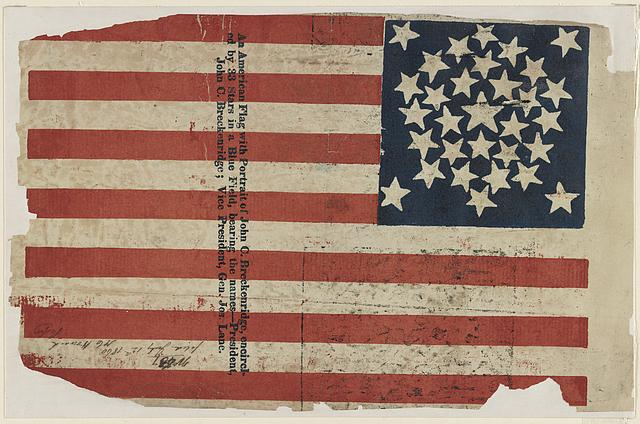 [Proof for an American flag campaign banner for John C. Breckinridge and Joseph Lane]