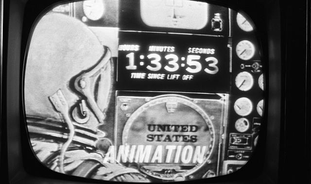 [Television screen showing depiction of John Glenn in the Friendship 7 space capsule, looking at the control panel during his orbit around earth on February 20, 1962]