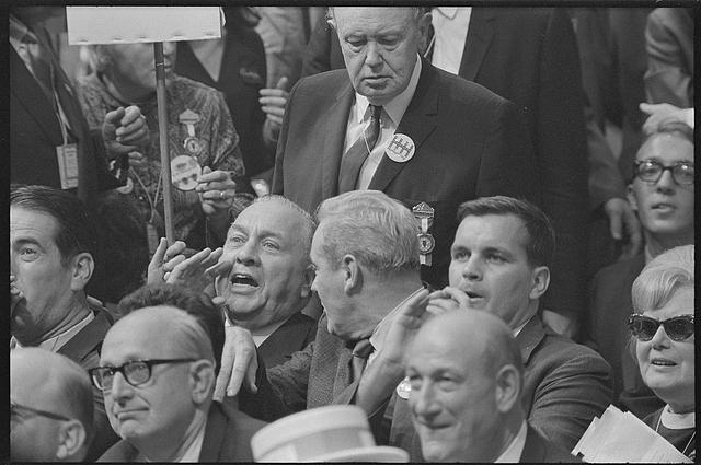 [Illinois delegates at the Democratic National Convention of 1968, react to Senator Ribicoff's nominating speech in which he criticized the tactics of the Chicago police against anti-Vietnam war protesters]