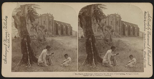 The church at Guadalupe - destroyed by fire - the scene of hard fighting, Philippine Islands
