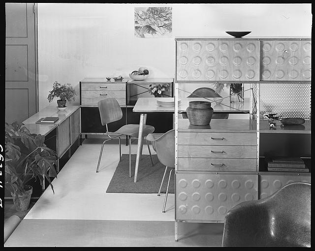 [Furniture with Eames storage units at Herman Miller showroom]