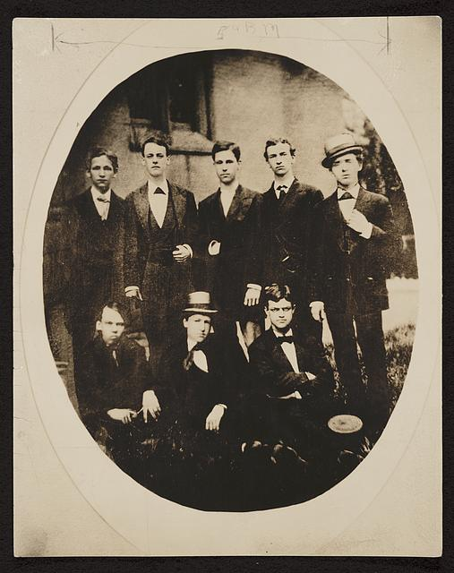 William Howard Taft (seated center) and classmates at the Woodward High School