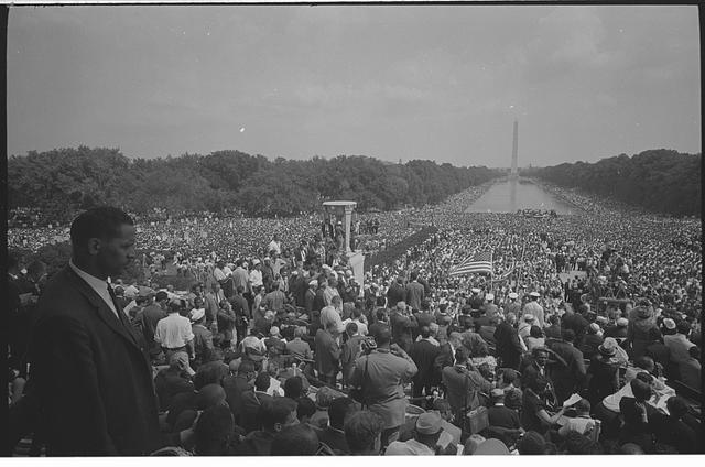 [View of the huge crowd from the Lincoln Memorial to the Washington Monument, during the March on Washington]