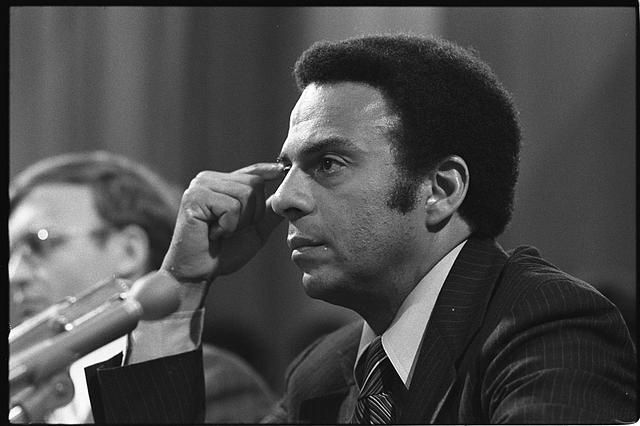 [Andrew Young, U.S. Ambassador to the United Nations, head-and-shoulders portrait, facing left, at a meeting of the Subcommittee on African Affairs of the Senate Committee on Foreign Relations]