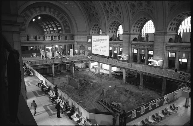 [Reconstruction of the Main Hall of Union Station into the National Visitors Center, showing excavation of a recessed pit, Washington, D.C.]