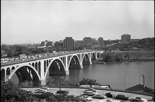 [Rosslyn, Virginia skyline, seen over the Francis Scott Key Bridge, Washington, D.C.]