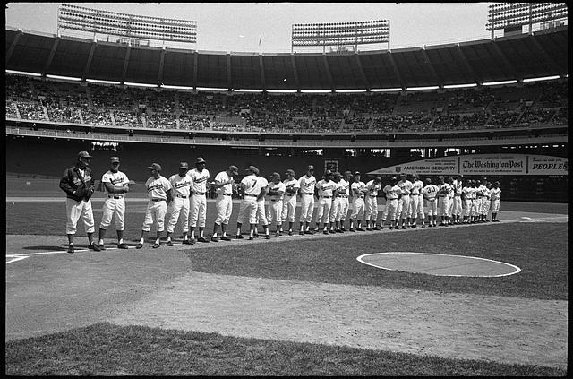 [Washington Senators baseball team standing on the field on opening day, Robert F. Kennedy Stadium, Washington, D.C.]