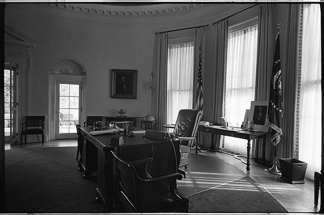 [Side view of desk and chair in the Oval Office in the White House, Washington, D.C.]