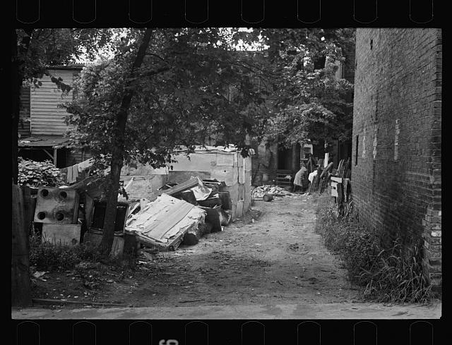 [Untitled photo, possibly related to: Negro backyard near Capitol, Washington, D.C. Negro children have just discovered the cameraman and are concerned at his presence]