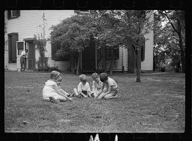 Healthy children in clean backyard, Washington, D.C.
