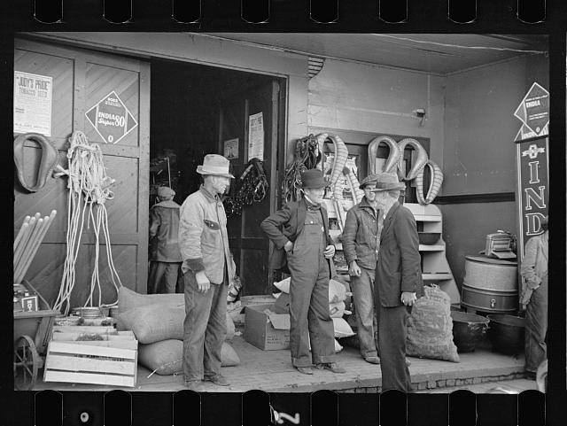 Scene in front of harness and hardware store, Newport, Tennessee