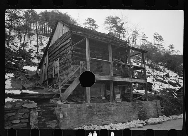 [Untitled photo, possibly related to: Mountain home, Appalachian Mountains, housed two white families]