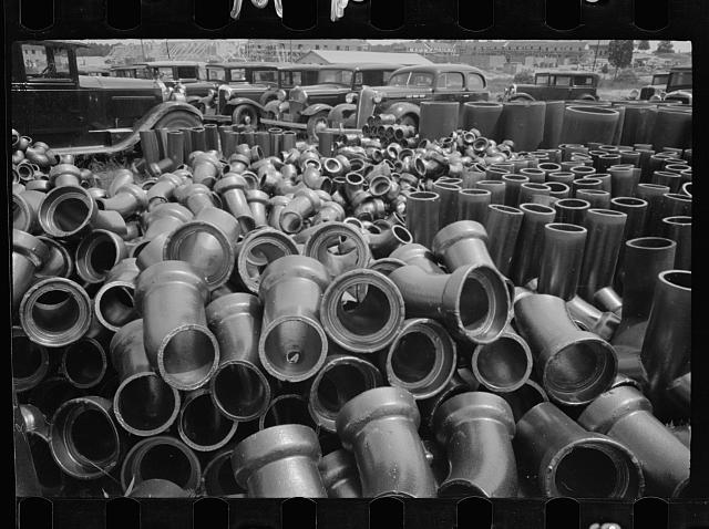 Sewer pipe storage, Greenbelt, Maryland.  1936.  Library of Congress.  Carl Mydans, photographer.