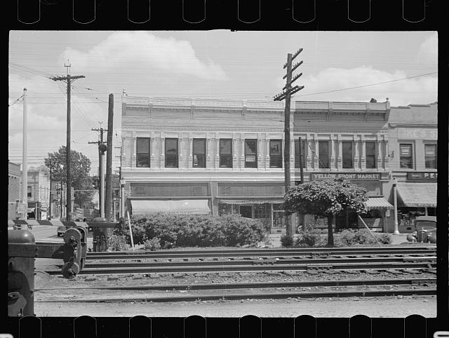 Main street and railroad tracks, Rocky Mount, North Carolina