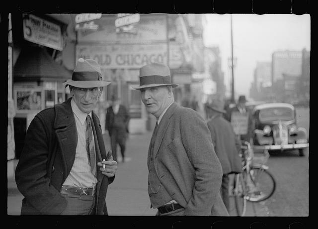 Men on lower Douglas Street, Omaha, Nebraska