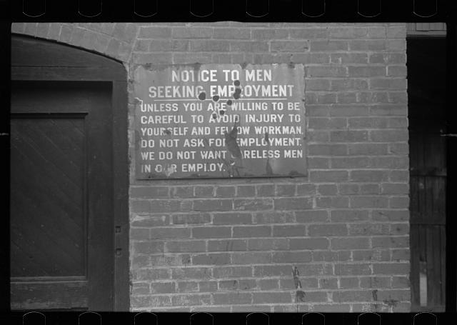 Sign at entrance to mine, Kempton, West Virginia