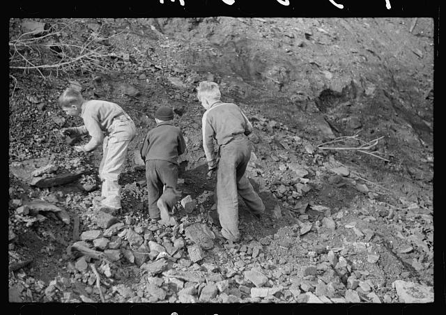 Miner's sons getting coal from the slag pile during May 1939 coal strike.  Kempton, West Virginia