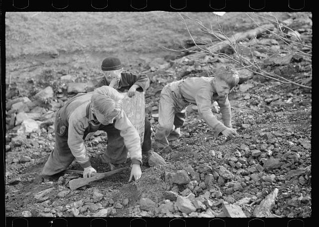 Miner's sons salvaging coal during May 1939 strike, Kempton, West Virginia