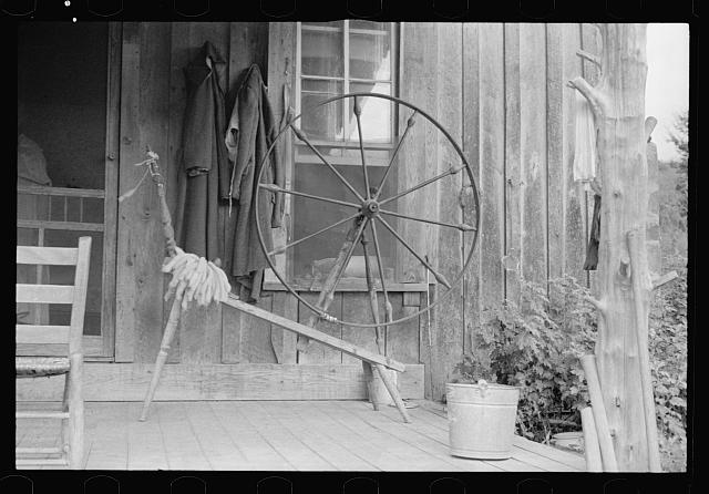 Spinning wheel used by a rehabilitation client, Ozark Mountains, Arkansas
