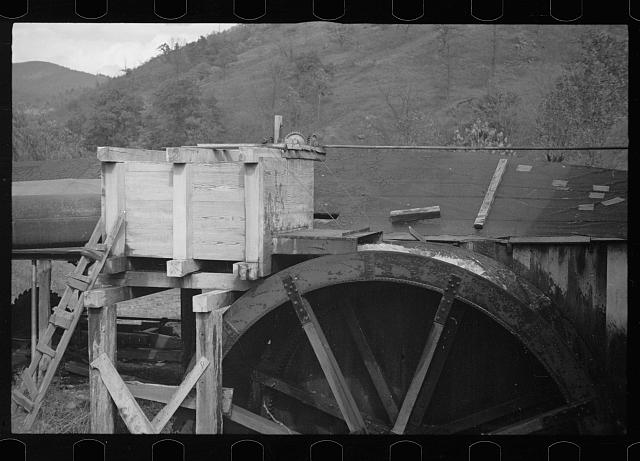 [Untitled photo, possibly related to: Waterwheel of mill, Nethers, Virginia]