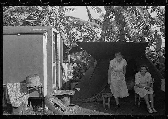 [Untitled photo, possibly related to: A row of houses occupied by fruit and vegetable workers, in a trailer camp near Belle Glade, Florida]