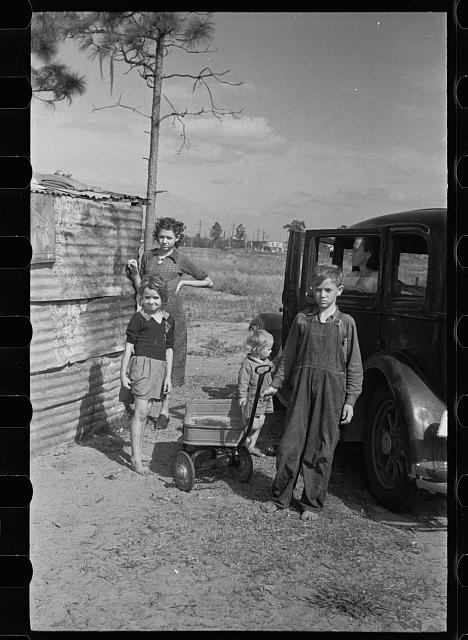 [Untitled photo, possibly related to: The family of a migratory fruit worker from Tennessee now camped in a field near the packinghouse at Winter Haven, Florida]