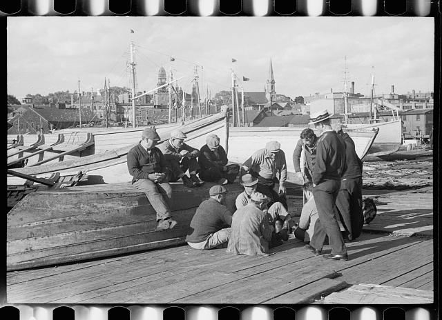 Fishermen playing cards, Gloucester, Massachusetts