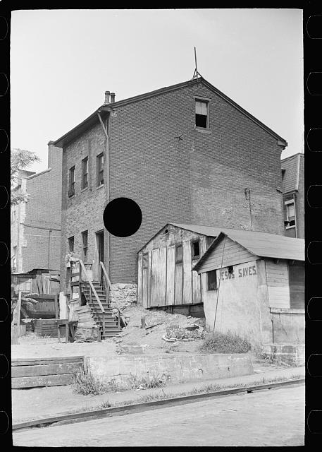 "[Untitled photo, possibly related to: Houses on ""The Hill"" slum section of Pittsburgh, Pennsylvania]"