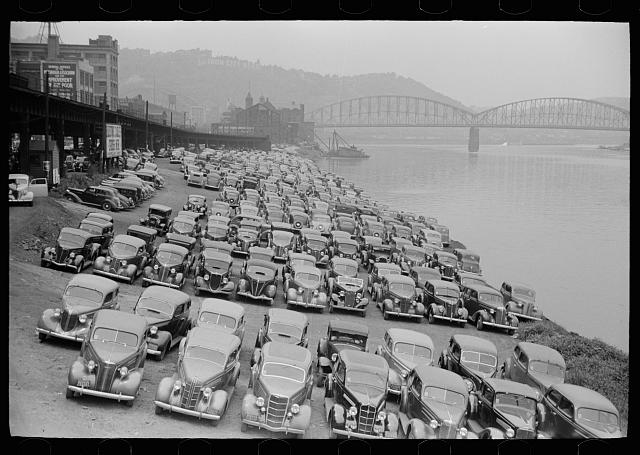 Cars parked along Allegheny River, Pittsburgh, Pennsylvania