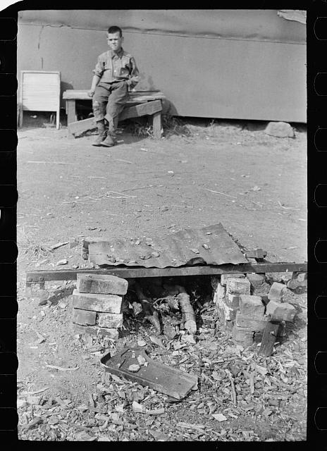 Outdoor fireplace on which cranberry pickers do their cooking, Burlington County, New Jersey