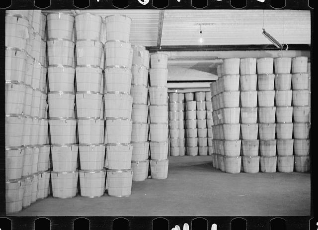 [Untitled photo, possibly related to: Packing eggs in cold storage warehouse, Jersey City, New Jersey]