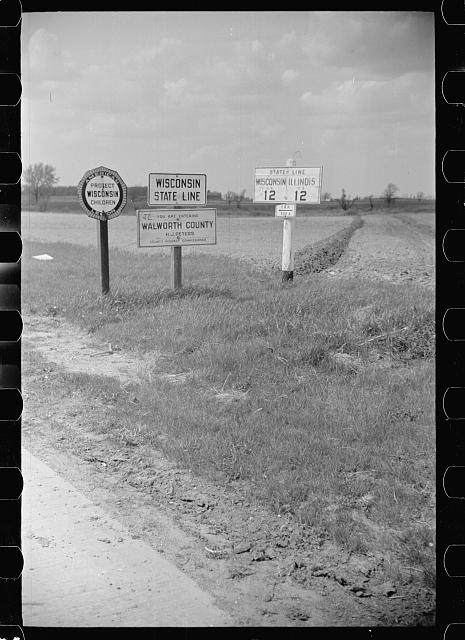 [Untitled photo, possibly related to: State line, Wisconsin and Illinois]