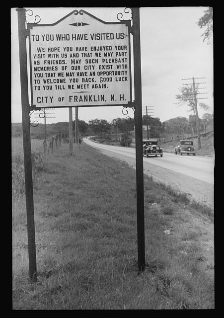Sign on city limits of Franklin, New Hampshire