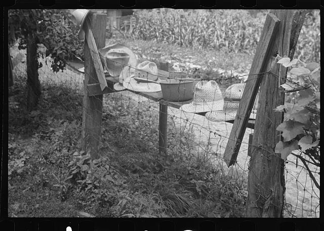 [Untitled photo, possibly related to: Threshers' hats, Brookeville, Maryland]