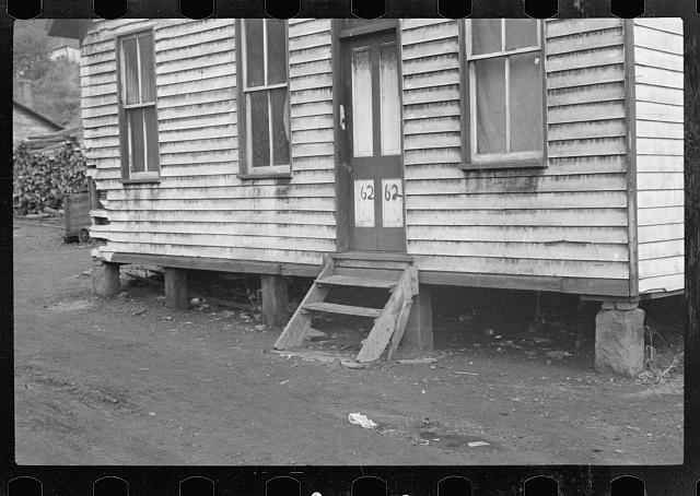 House stained by coal dust, Pursglove Mine, Scotts Run, West Virginia