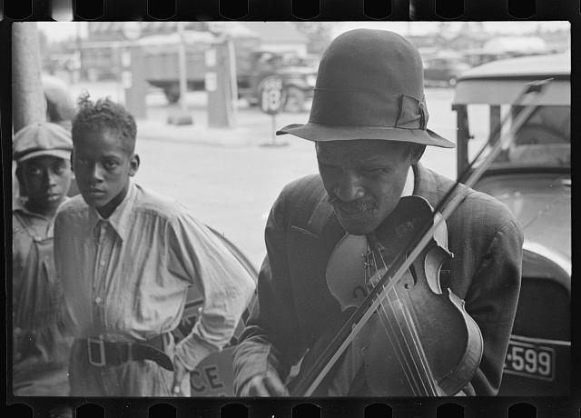 [Untitled photo, possibly related to: Blind street musician, West Memphis, Arkansas]