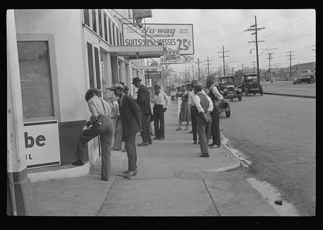 Applicants waiting for jobs in front of FERA offices, New Orleans, Louisiana