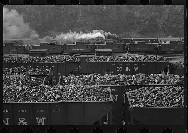 Williamson, West Virginia. A railroad yard with cars loaded with coal